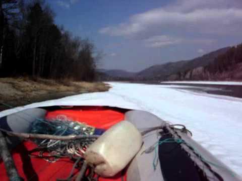 Аэролодка по льду - вид из кабины